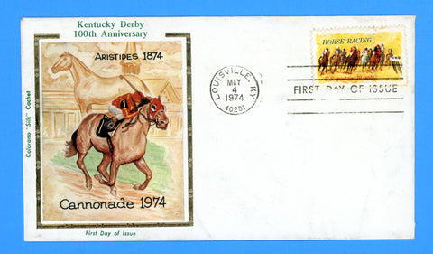 Scott 1528 Horse Racing First Day Cover by Colorano
