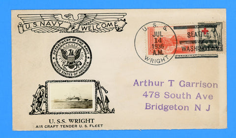 USS Wright AV-1 July 14, 1936 - Crosby Cachet