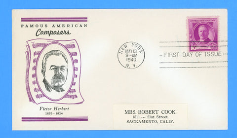 Scott #881 Victor Herbert, Famous Americans First Day Cover by Linprint