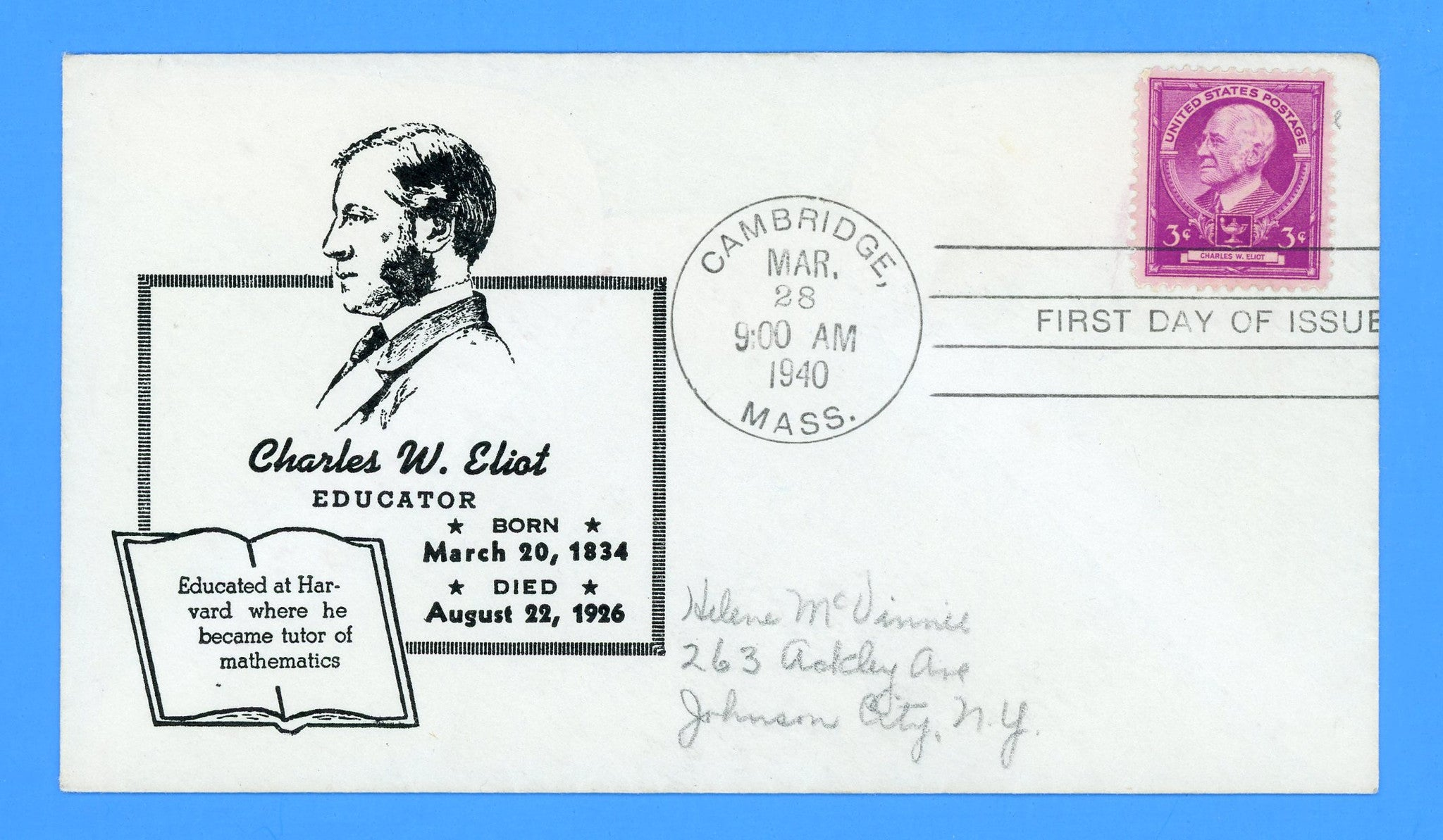 Scott #871 Charles Eliot, Famous Americans First Day Cover by Reid