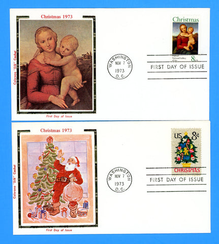 Scott 1507-08 Christmas 1973 Set of Two First Day Covers by Colorano (Very Early)