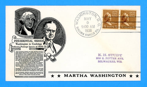 Scott #805 1 1/2c Martha Washington First Day Cover by Anderson