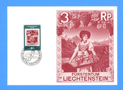 Liechtenstein - Scott 690 Postal Museum 50th Anniversary First Day of Issue Maxi Card