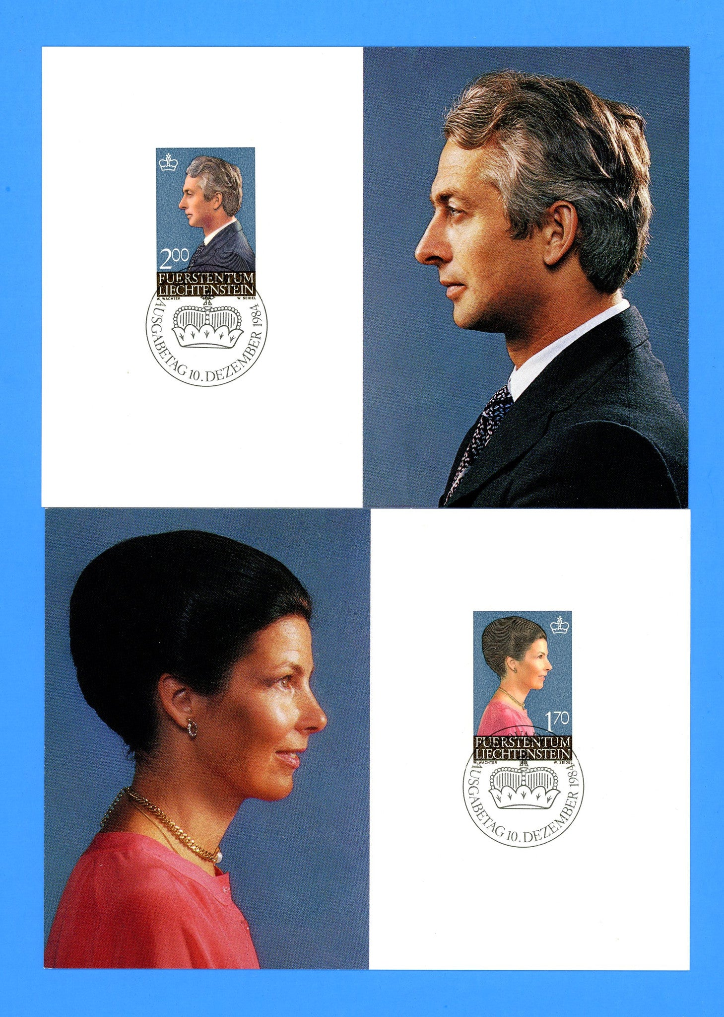 Liechtenstein - Scott 799-80 Hereditary Princess and Prince Set of 2 First Day of Issue Maxi Cards