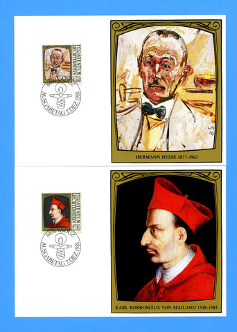 Liechtenstein - Scott 722-25 Famous Visitors by Cuno Amiet Set of 4 First Day of Issue Maxi Cards