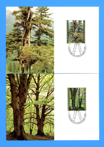 Liechtenstein - Scott 697-700 Trees of the Seasons Set of 4 First Day of Issue Maxi Cards