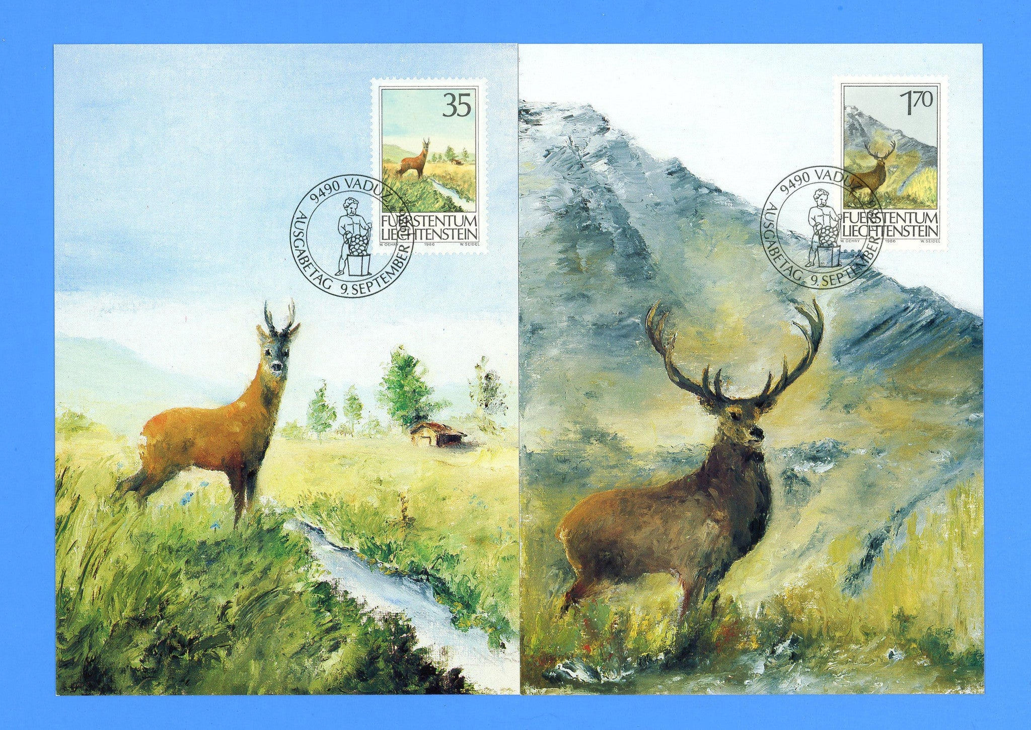 Liechtenstein - Scott 849-51 Hunting Set of 3 First Day of Issue Maxi Cards