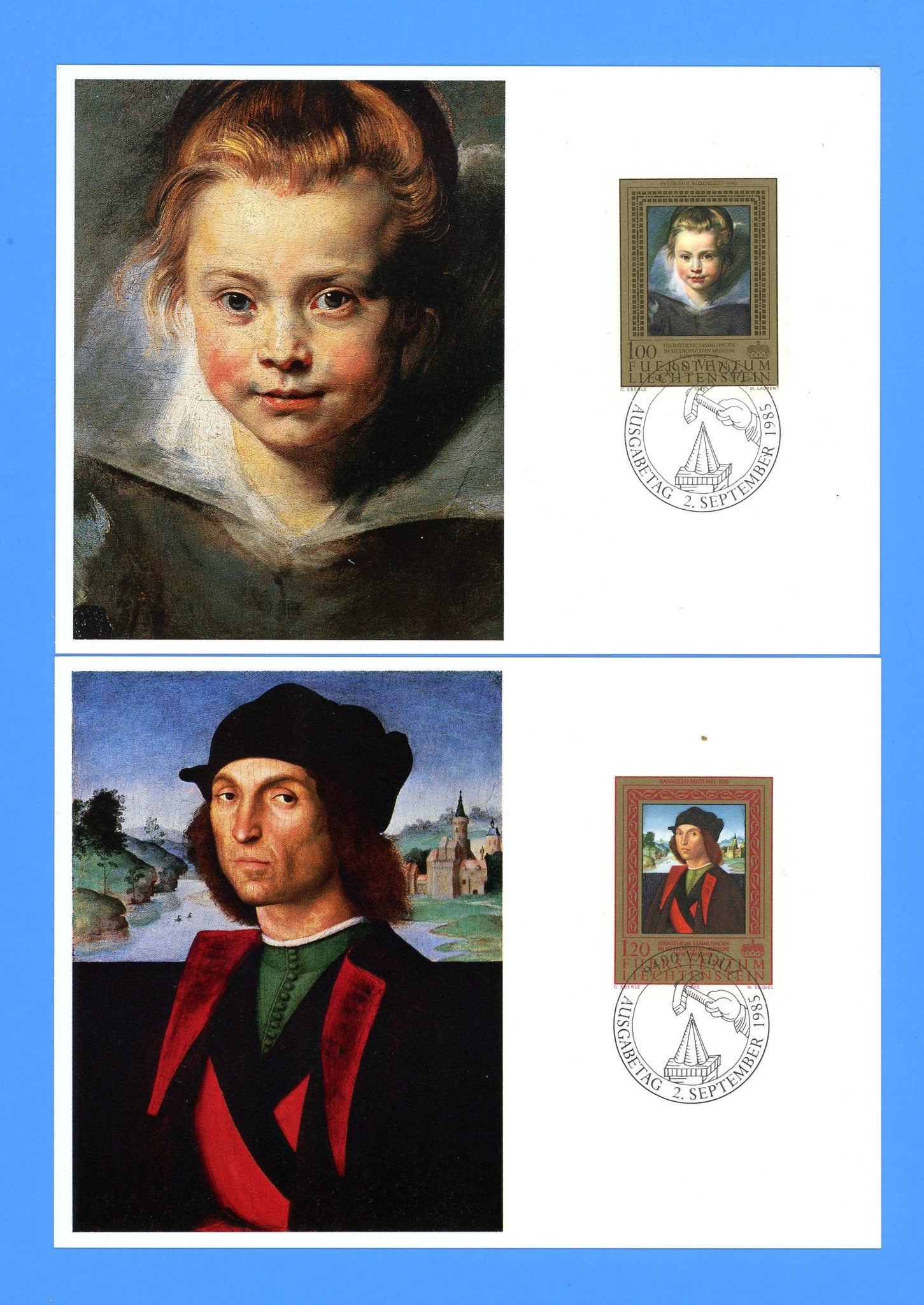 Liechtenstein - Scott 817-19 Paintings from the Princely Collection Set of 3 First Day of Issue Maxi Cards