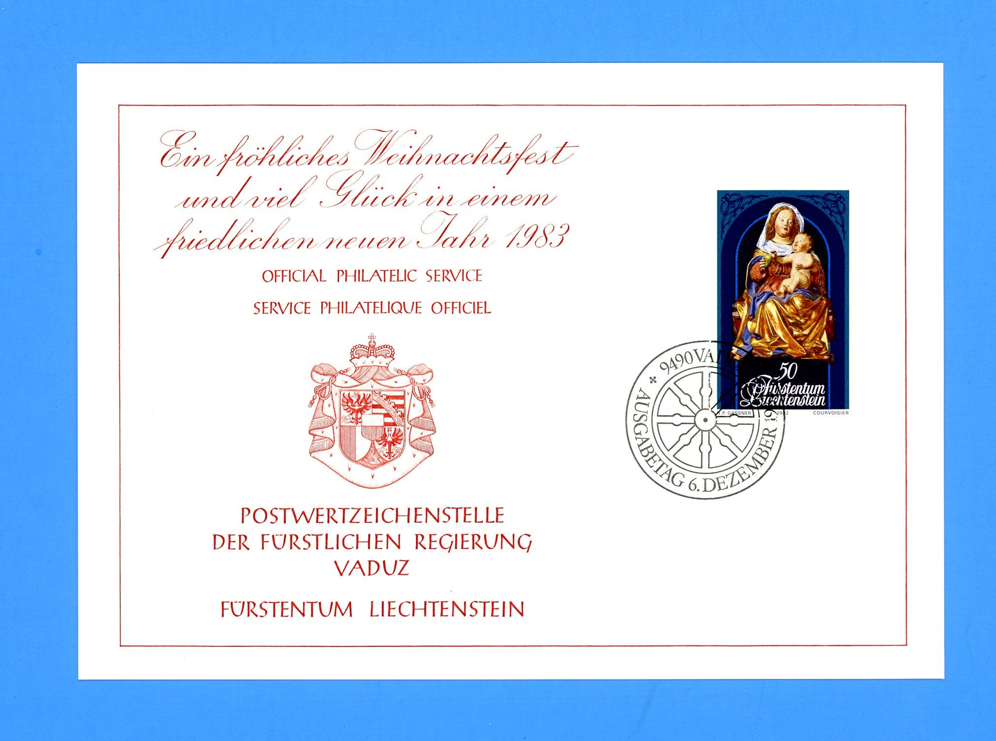 Liechtenstein - Scott 752 Christmas Madonna and Child 1982 First Day of Issue Maxi Card