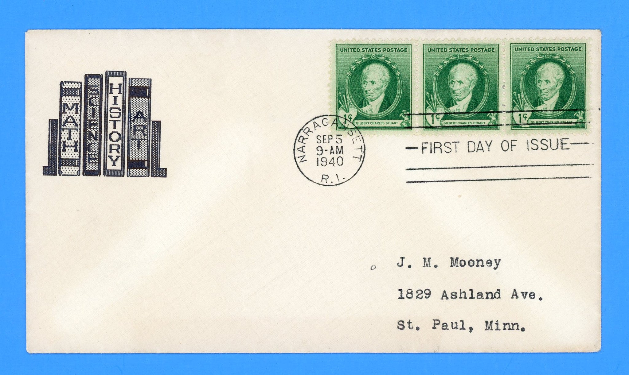 Scott #884 Gilbert Charles Stuart, Famous Americans First Day Cover