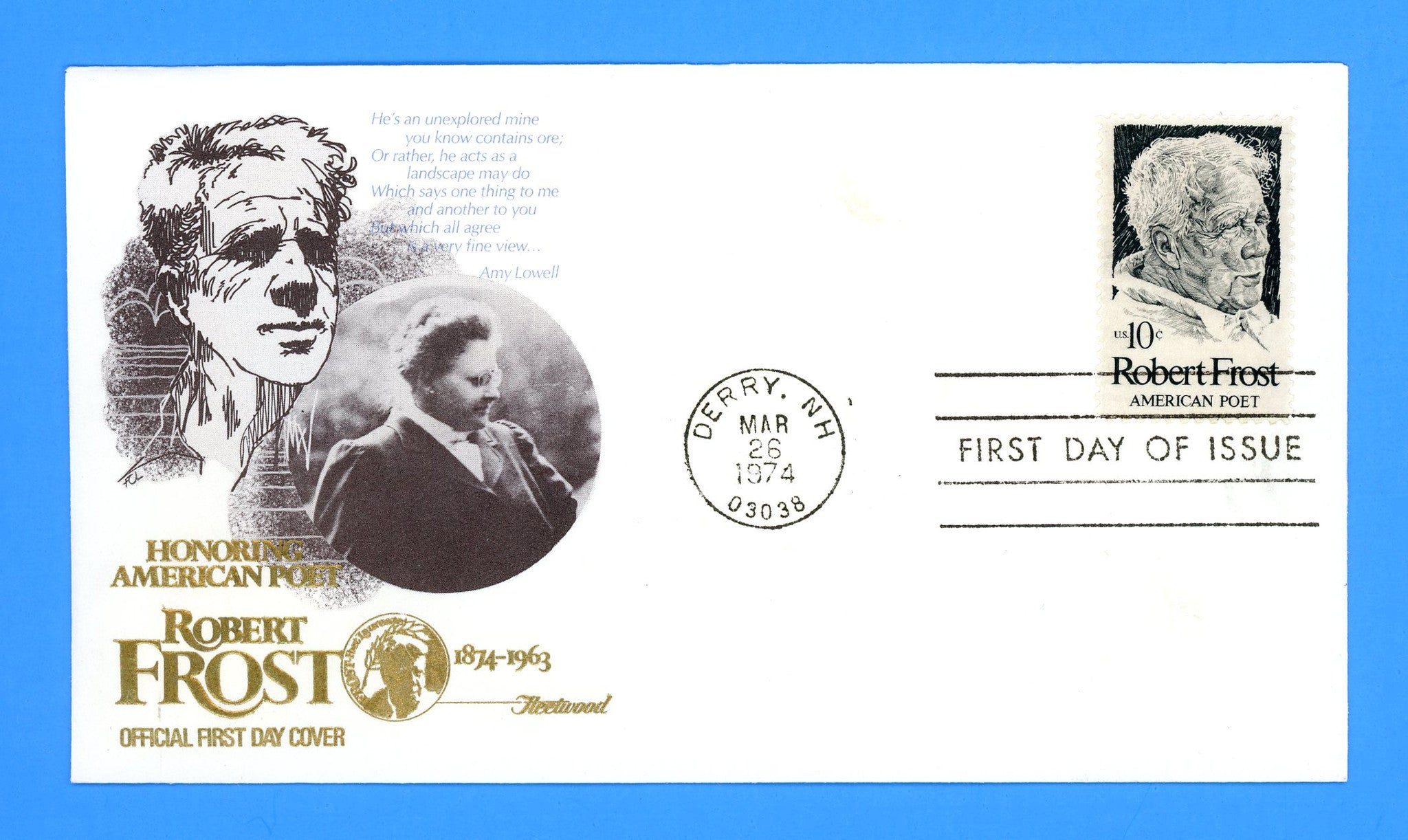 Robert Frost, American Poet First Day Cover by Fleetwood