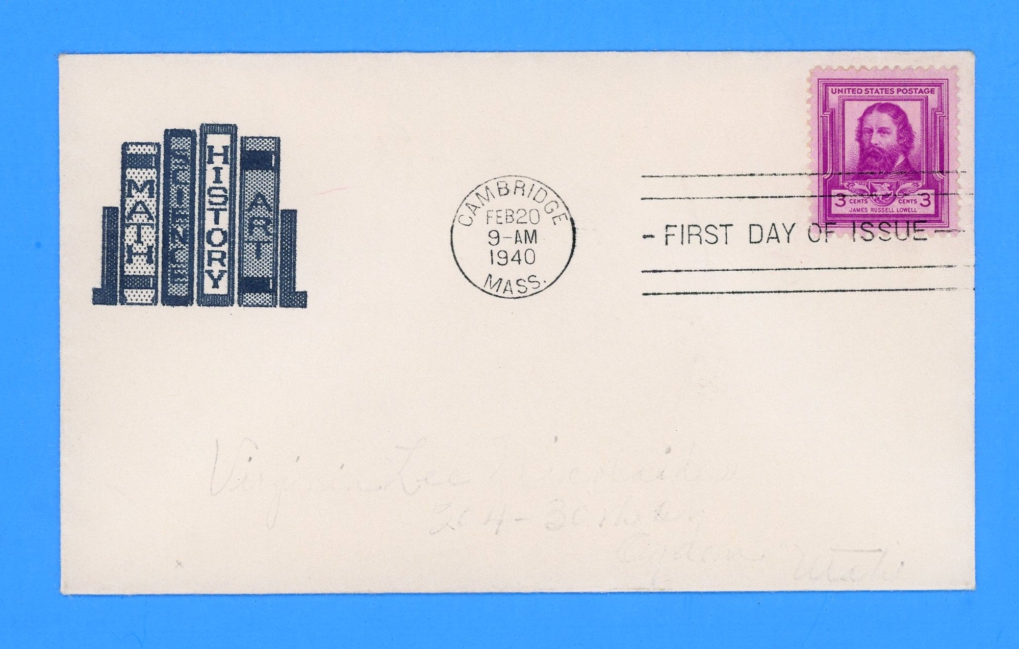 Scott #866 James Russell Lowell, Famous Americans First Day Cover