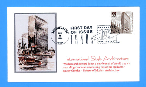 Scott 3186k International Style Architecture CTC First Day Cover by Great Southern Cover Co