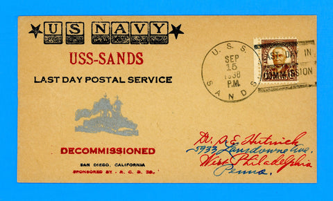 USS Sands DD-243 Last Day in Commission September 15, 1938