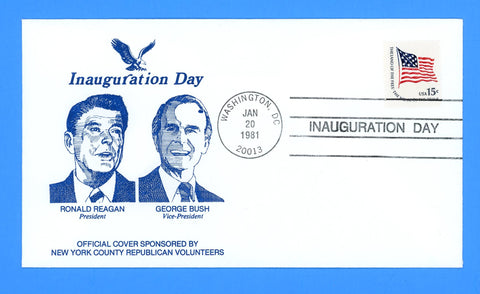 Ronald Reagan Inauguration Day First Term January 20, 1981 - Cachet by New York County Republican Volunteers