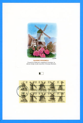 "Scott 1742a Windmills First Day of Issue Fleetwood Proofcard 6"" x 9"""