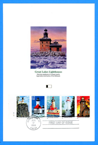 "Scott 2973a Great Lakes Lighthouses First Day of Issue Fleetwood Proofcard 6"" x 9"""
