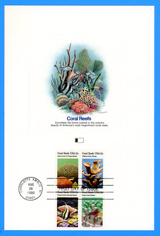 "Scott 1830a Coral Reef First Day of Issue Fleetwood Proofcard 6"" x 9"""