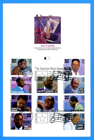 "Scott 2983-2992 Jazz Legends First Day of Issue Fleetwood Proofcard 6"" x 9"""