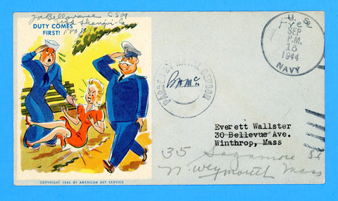 "USS Shangri-La CV-38 Sailor's Censored ""Free"" Mail on Patriotic Sept 15, 1944"