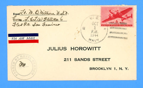 Commander LCT Flotilla 6 Sailor's Censored Mail October 1, 1944