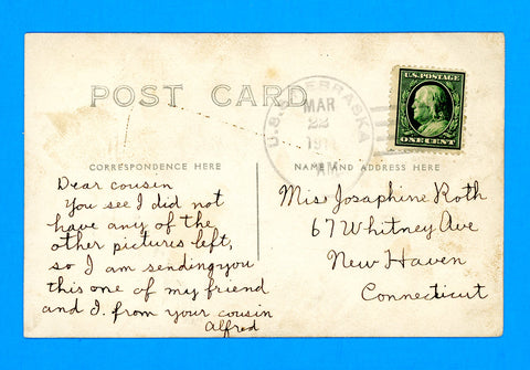 USS Nebraska BB-14 Sailor's Mail March 22, 1911 - Nice Sailor's Picture