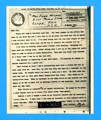 USS Monticello AP-61 Sailor's Censored V Mail March 8, 1944