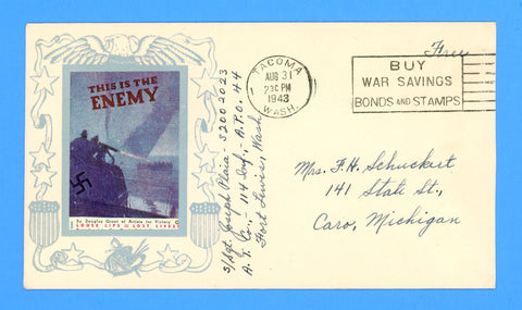 Soldier's Free Mail APO 44 New Georgia, Solomons Patriotic Cover August 31, 1943