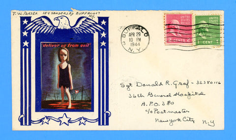 "Patriotic Cover ""Deliver us From Evil"" to APO 380 Caserta, Italy April 29, 1944"