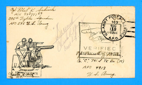 "Soldier's Censored ""Free"" Mail Patriotic Cover APO 169 Osmanville, France August 13, 1944 to a ""Deceased"" APO 4913"