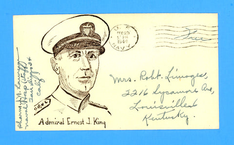 "Huss Patriotic ""Admiral Ernest J. King"" ""Free"" Sailor's Mail Naval Hospital, San Diego December 29, 1944"