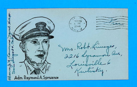 "Huss Patriotic (Goff as Artist) ""Admiral Raymond Spruance"" ""Free"" Sailor's Mail Naval Hospital, San Diego December 29, 1944"