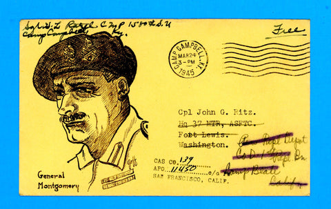 "Huss Patriotic (Goff as Artist) ""General Montgomery"" ""Free"" Soldier's Mail March 24, 1945"