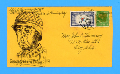 "Huss Patriotic (Goff as Artist) ""Guadalcanal's Vandegrift"" APO 453 Canlubang, Philippines Censored Soldier's Mail March 25, 1945"