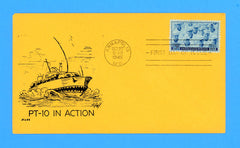 "Scott 935 3c Navy Issue - Sailors on Huss Patriotic Cover (Goff as Artist) ""PT-10 in Action"""