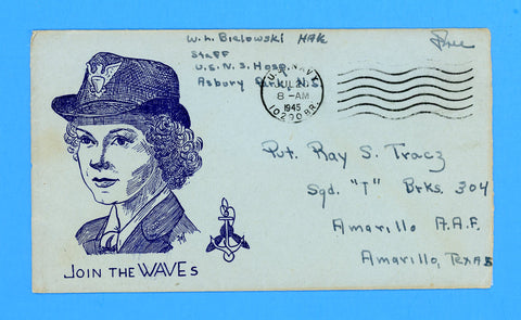 "Huss Patriotic (Goff as Artist) ""Join the WAVES"" Sailor's ""Free"" Mail Naval Hospital, Asbury Park, NJ July 20, 1945"