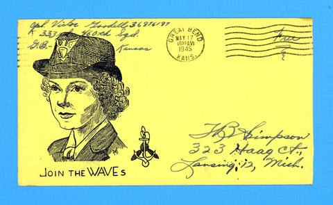 "Huss Patriotic (Goff as Artist) ""Join the WAVES"" Soldier's ""Free"" Mail May 17, 1945"