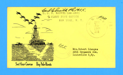 "Huss Patriotic (Goff as Artist) USS Marvel AM-262 ""Set Your Course, Buy War Bonds"" December 19, 1944"