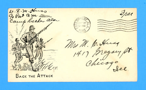 "Huss Patriotic (Goff as Artist) ""Back the Attack"" Soldier's Mail August 12, 1945"