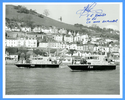 "HMS Example P165 & HMS Explorer P164 Departing Britannia Royal Naval College 8 x 10"" Photograph - CO Signed"