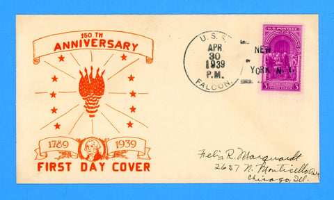 Scott 854 Washington Inauguration First Day Cover by Fredrick Horton - First Day Cancel USS Falcon ASR-2