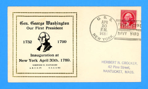 USS New York BB-34 First Presidential Inauguration Anniversary April 30, 1936 - Scatchard Cachet