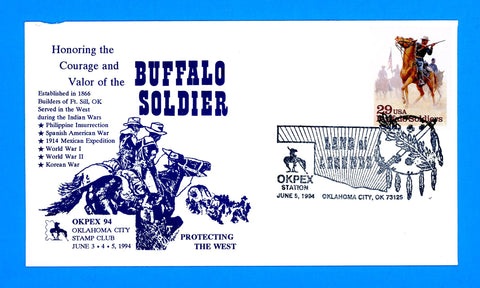 Scott 2818 Buffalo Soldiers OKPEX Oklahoma City Pictorial Cancel June 5, 1994