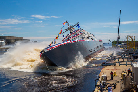 "USS Billings LCS-15 launches sideways into the Menominee River in Marinette, Wisconsin (July 1, 2017) - 4"" x 6"" Lustre Photograph"