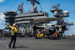 "SOUTH CHINA SEA (Feb. 23, 2017) E-2C Hawkeye Assigned to the ""Black Eagles"" of Carrier Airborne Early Warning Squadron (VAW) 113 aboard the USS Carl Vinson CVN-70"
