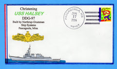 USS Halsey DDG-97 Christening January 17, 2004 - Bill Everett Cachet