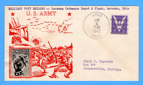 Military Post Mailing -- Ravenna Ordnance Depot & Plant, Ravenna, Ohio, Cancelled Apco, Ohio June 4, 1943 - Crosby Patriotic Cover