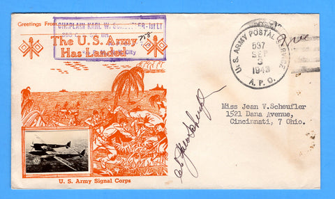 "Chaplain's Free Mail 355th C.A. Searchlight Bn. APO 758 Palermo, Sicily Cancelled APO 537 Bizerte, Tunisia ""The U.S. Army Has Landed"" September 3, 1943 - Crosby Patriotic Cover"