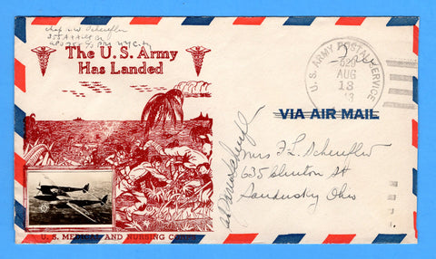 "Chaplain's Free Mail 355th AAA Searchlight Bn. APO 758 Palermo, Sicily Cancelled APO 529 Bizerte, Tunisia ""The U.S. Army Has Landed"" August 13, 1943 - Crosby Patriotic Cover"