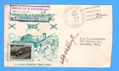 "Chaplain's Free Mail 355th C.A. Searchlight Bn. APO 758 Palermo, Sicily Cancelled APO 529 Bizerte, Tunisia ""The U.S. Army Has Landed"" September 1, 1943 - Crosby Patriotic Cover"